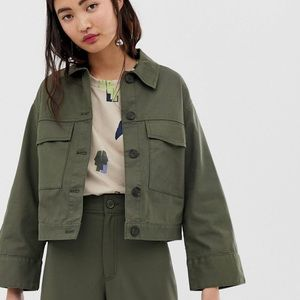 ASOS Cropped Green Utility Jacket Small